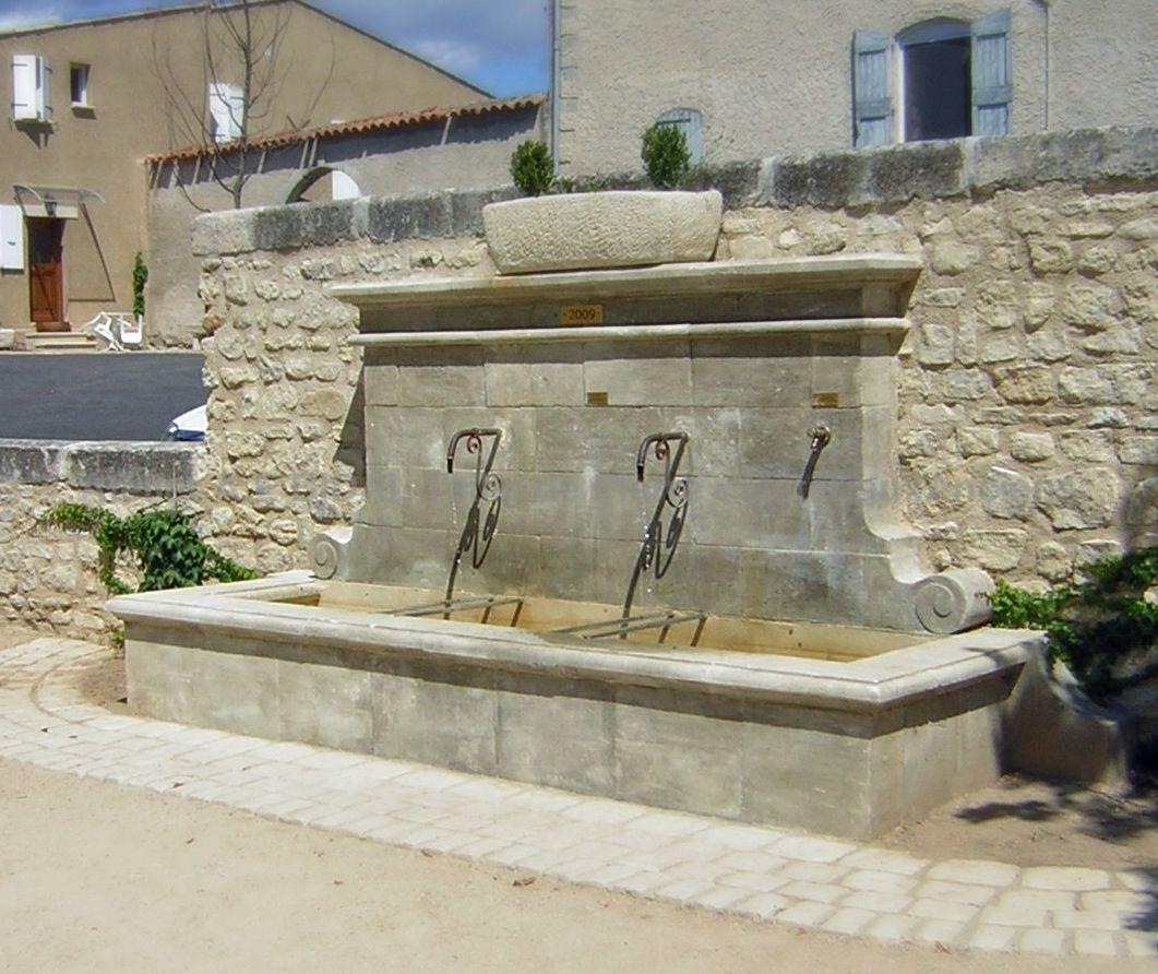 grande fontaine de jardin en pierre de taille sign e atelier bidal