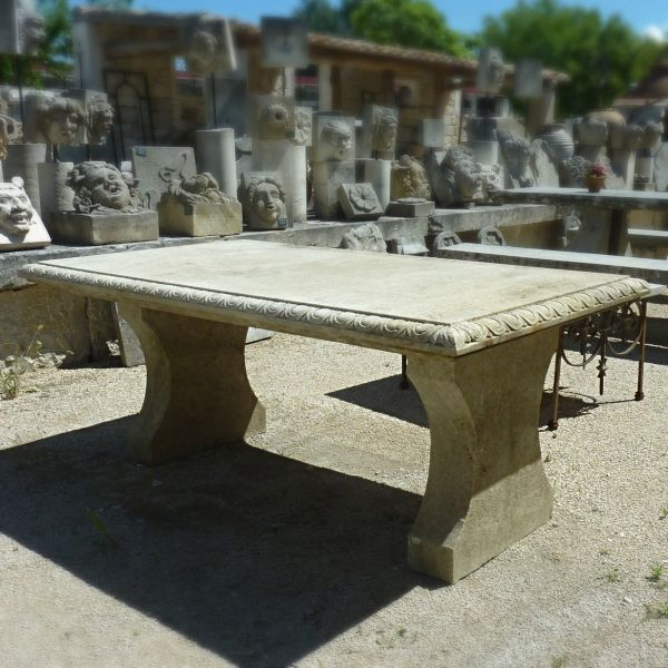 Large stone table for indoor or outdoor use.