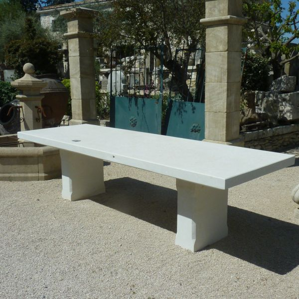 Natural stone table | A design outdoor furniture in natural white stone.