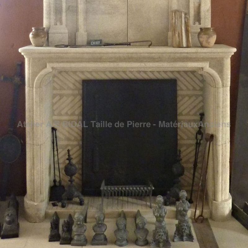 Fireplace crafted in Provence natural limestone quarried in France.