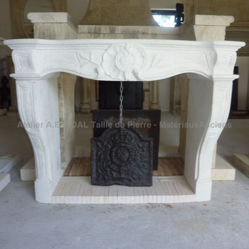 Louis XVth-style mantel carved in a provence limestone - fireplace for insert.