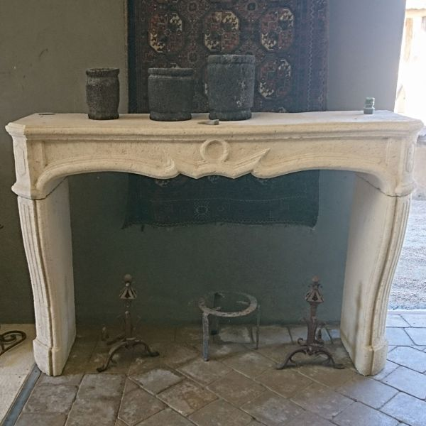 Regency Style fireplace in stone - Louis 15 stone fireplace