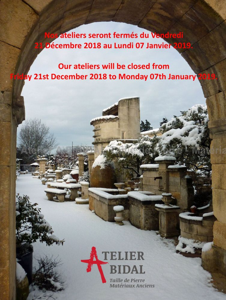 The Stone Cutting Atelier Alain Bidal in Provence ǀ End of year closing dates 2018