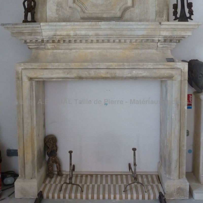Stone fireplace, created by Alain bidal in a Louis XII style