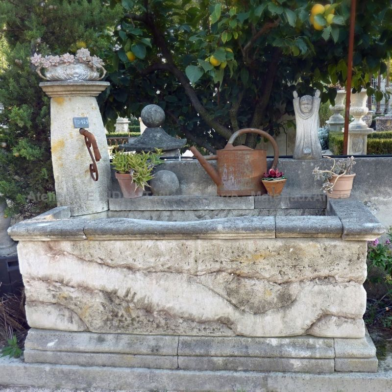 Nice yet rustic-looking fountain in stone for outdoor use