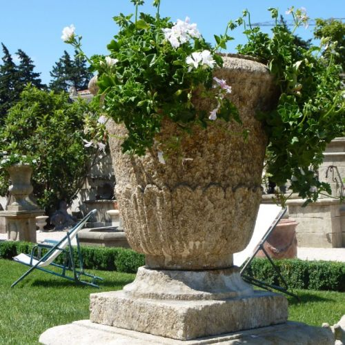 Big vase in stone for outdoor stone decoration