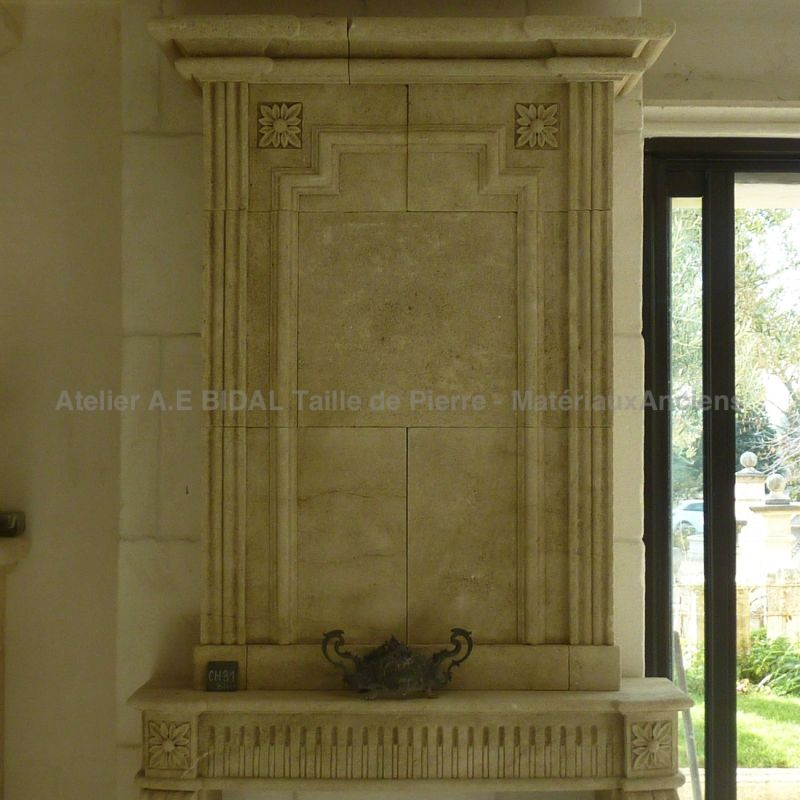 Stone fireplace from a french Quarry