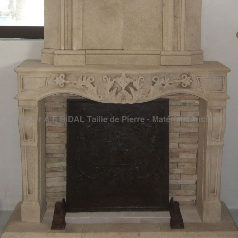 Fireplace Louis XIV, new edition, decoration element in siz stone