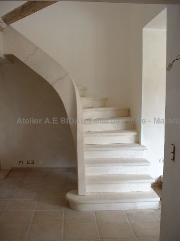 indoor stair in white stone - a one of a kind craft made in the Isle on Sorgue