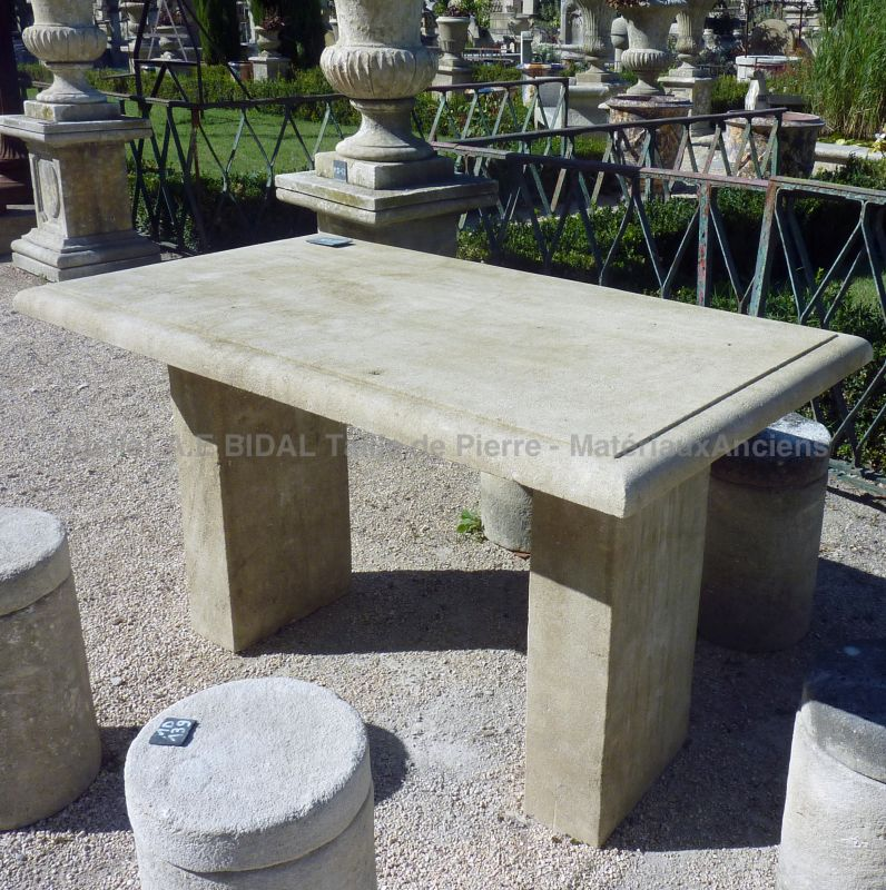 Rectangular desk table in limestone from Provence