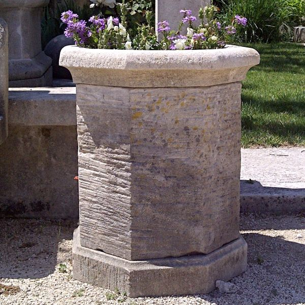 Vase in Provence stone, hexagonal shape