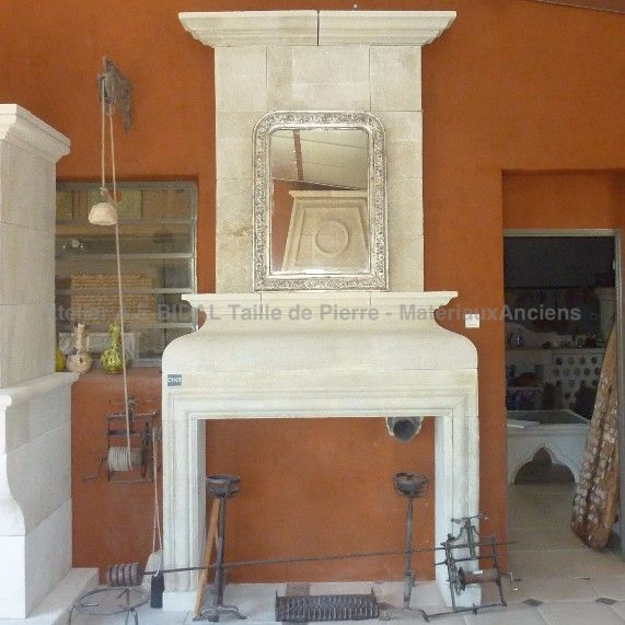 Magnificient Louis XIII style stone fireplace.