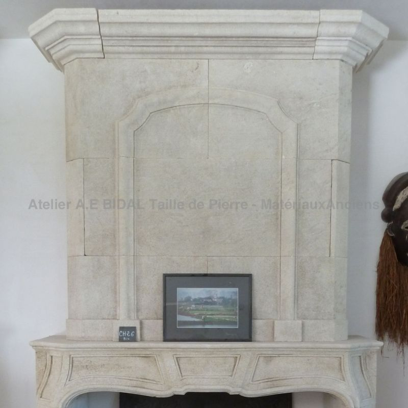 Louis XIVth fireplace carved in Provence natural limestone
