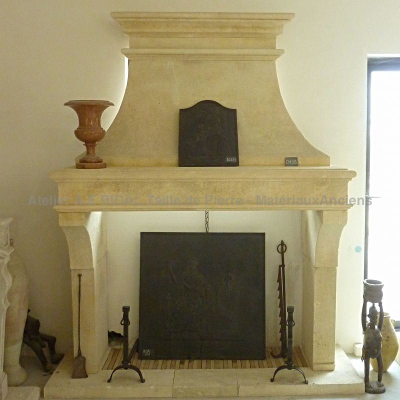 Stone Fireplace of Louis-Philippe style created by the Bidal workshop in Provence.