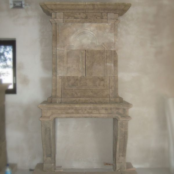 Limestone fireplace with trumeau - Louis XIII style