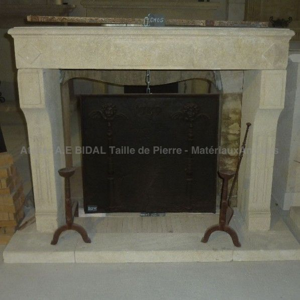 Geometrical fireplace Louis XVI Built in Estailles stone
