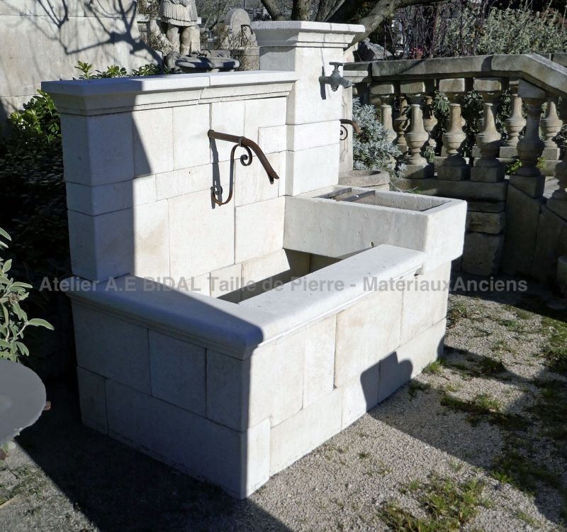 Beautiful fountain of Provence crafted in natural limestone.