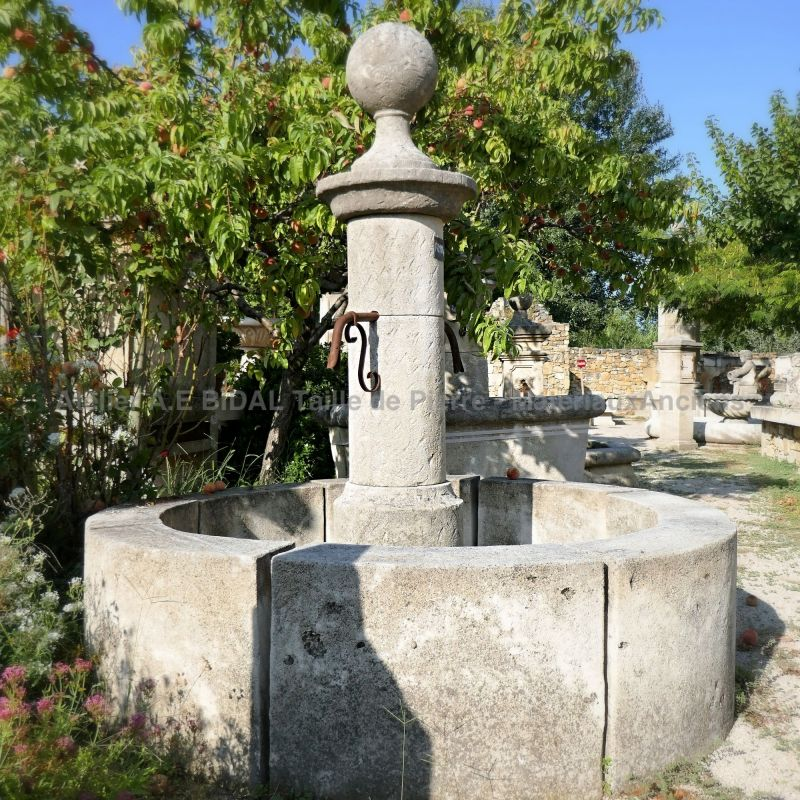 Garden water fountain for the garden, made in natural stone - Central fountain for sale at Alain Bidal's.