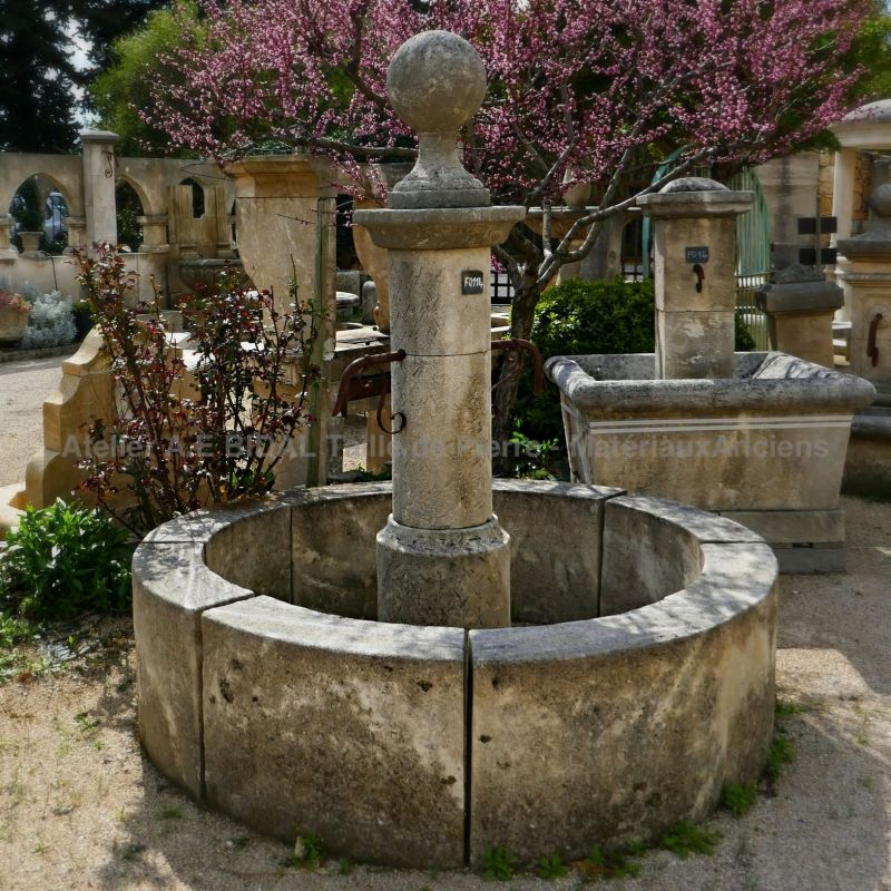 Stone fountain - one of a kind work by the stonemason Alain Bidal
