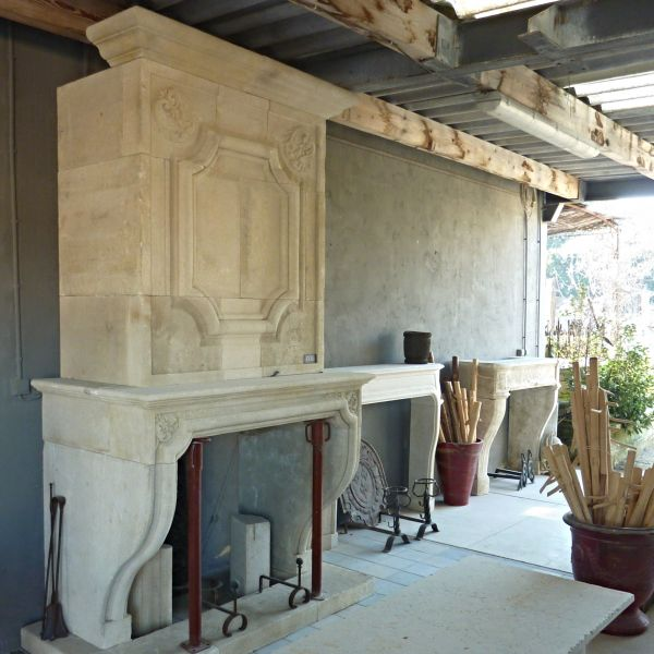 Exceptional crafted work for this Louis XIVth style fireplace with trumeau in French limestone.
