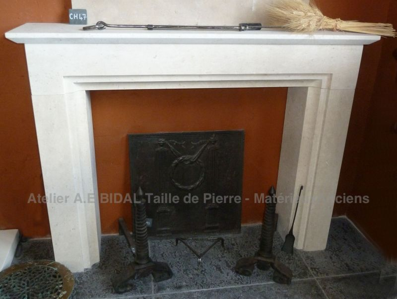 Fireplace in a Second Empire style in stone - A E Bidal workshop in Vaucluse.