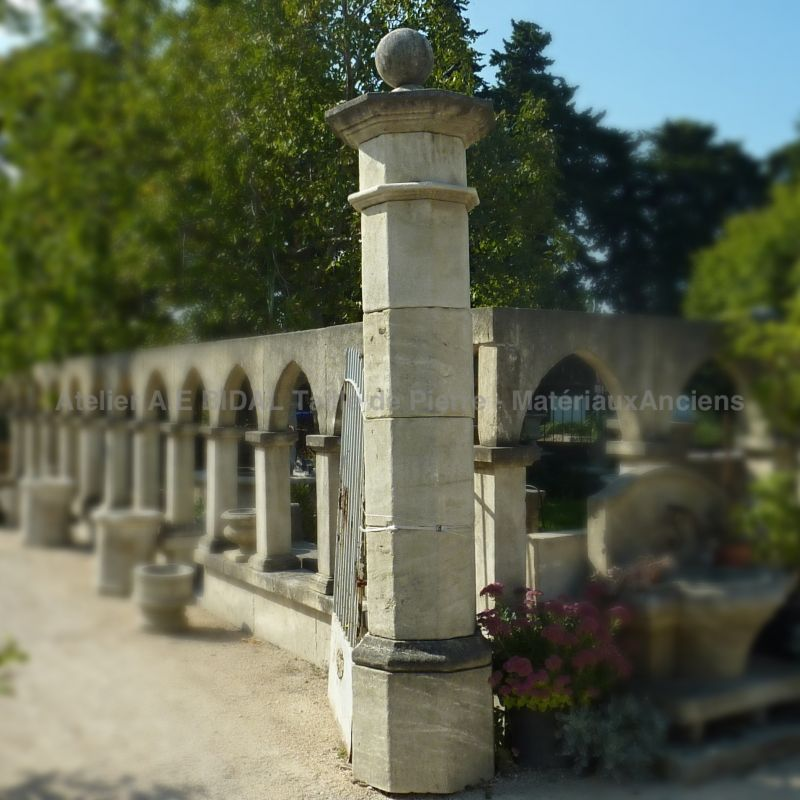 Stone pillars in carved stone for outdoor design.