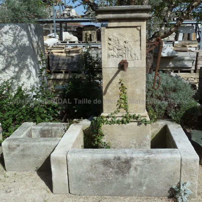Rustic fountain in a provence style - made in Estaillade stone