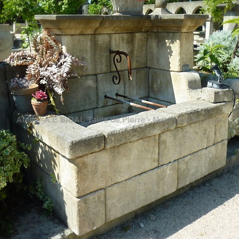 Rustic fountain, that will fit any outdoor design.