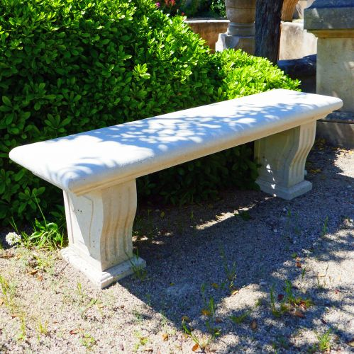 Garden bench in stone : bench hand carved in stone by Atelier Alain BIDAL, Provence.