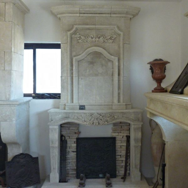 Fireplace Louis XIV in Estaillade stone - a local,  unfreezable limestone
