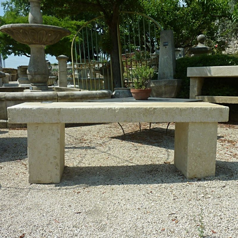 Nice bench in natural stone for a garden or a terrace, signed AE Bidal.