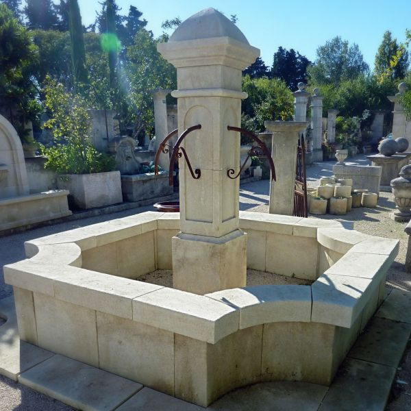 Majestic garden fountain in Avy stone for sale at Alain BIDAL.