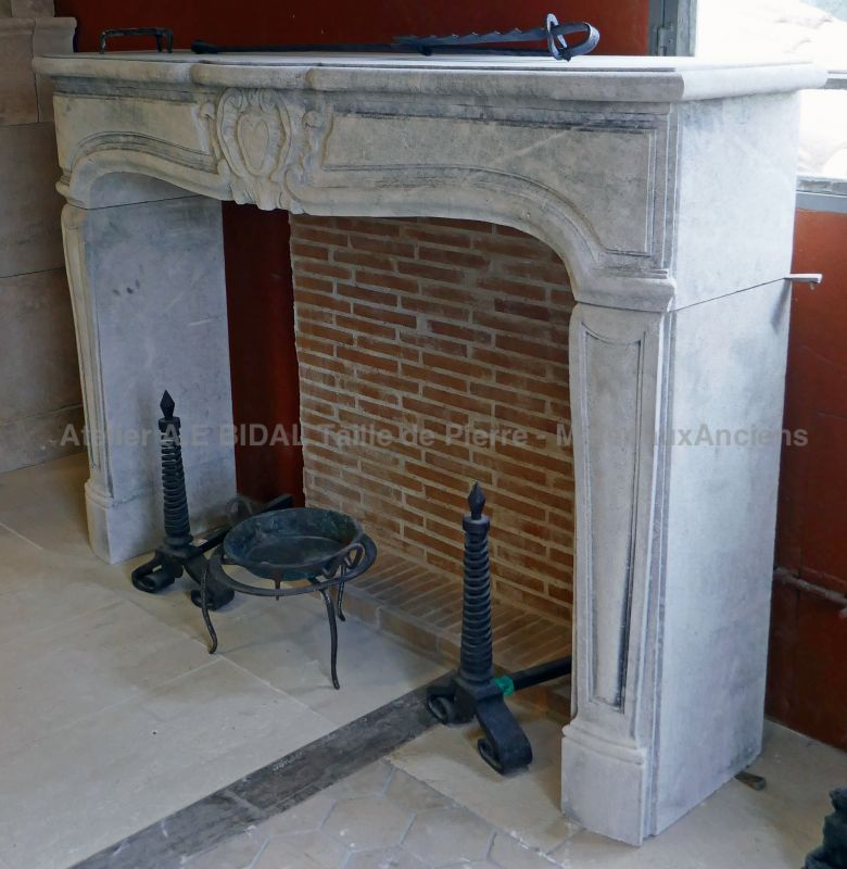 Large fireplace in stone : Regence style fireplace
