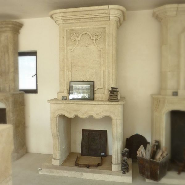 Fireplace for insert in natural stone, Louis XV style (new edition).