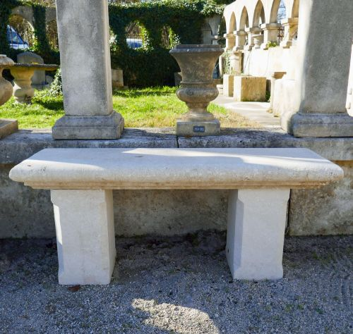 Garden bench in natural limestone by Atelier Alain BIDAL