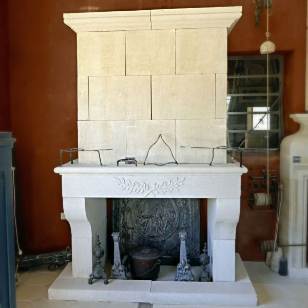 General view of our Provence traditional fireplace created and hand-carved by Alain Bidal - Provence.